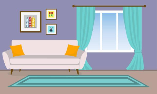 wohnzimmer innenraum. vektor-hintergrund mit sofa, bilder und fenster mit vorhängen. wohnung oder haus design. modernes dekor. vektor-illustration. - wohnzimmer gemütlich stock-grafiken, -clipart, -cartoons und -symbole