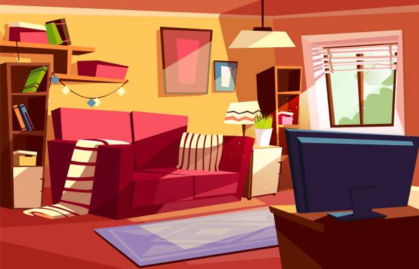 stockillustraties, clipart, cartoons en iconen met woonkamer interieur vector cartoon illustratie - photography curtains