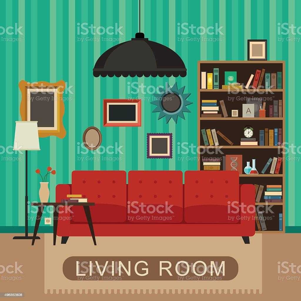 Living room interior. vector art illustration