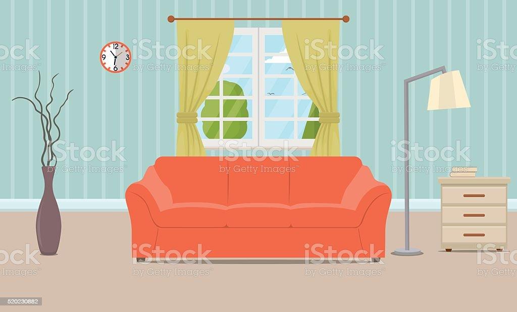 Living room interior vector art illustration
