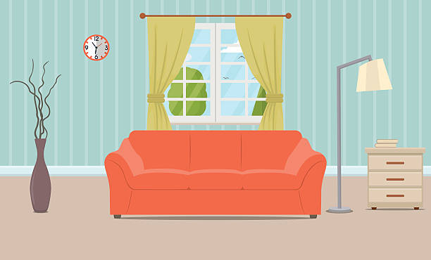 Living Room Interior Vector Art Illustration