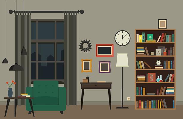 illustrations, cliparts, dessins animés et icônes de intérieur de la salle de séjour  - salon pièce