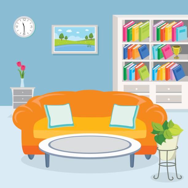 ilustrações de stock, clip art, desenhos animados e ícones de living room interior - coffee table