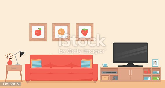 Room interior. Vector. Living room with coral sofa, table and TV. Modern house background with furniture. Cartoon illustration. Home inside in flat design. Template banner.