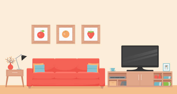 Living room interior. Vector illustration. Flat design. Room interior. Vector. Living room with coral sofa, table and TV. Modern house background with furniture. Cartoon illustration. Home inside in flat design. Template banner. inside of stock illustrations
