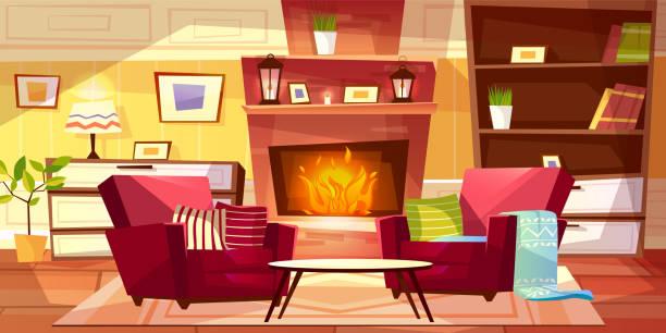 ilustrações de stock, clip art, desenhos animados e ícones de living room interior vector illustration - braseiro