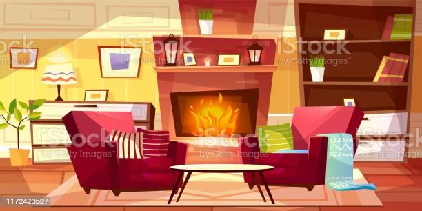 Woonkamer Interieur Vector Illustratie Stockvectorkunst en meer beelden van Achtergrond - Thema