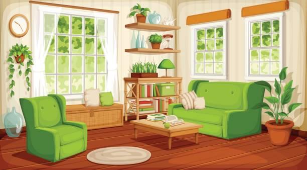 Living room interior. Vector illustration. – Vektorgrafik