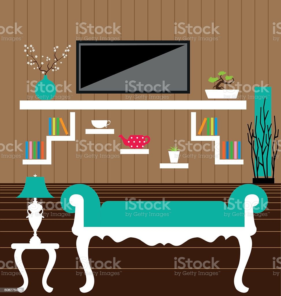 Living room interior vector vector art illustration