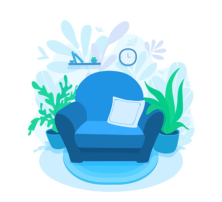 Living room interior with a cozy armchair. A floral decorated wall. Comfortable sofa at home.