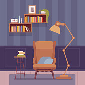 Living room interior with a tall floor lamp. Cozy corner for reading, a cute nook to bring a welcoming sense of sweet home, dark calm wallpaper ideas pattern. Vector flat style cartoon illustration
