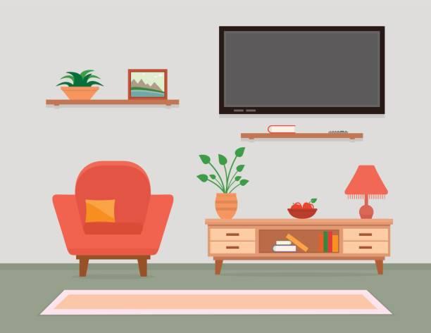 ilustrações de stock, clip art, desenhos animados e ícones de living room interior with armchair and furniture - living room background
