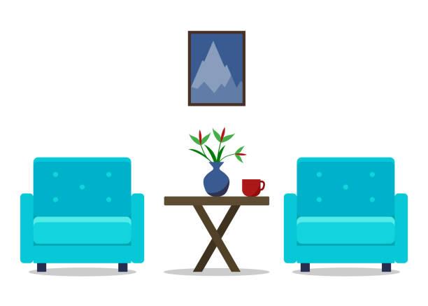 ilustrações de stock, clip art, desenhos animados e ícones de living room interior with armchairs. furniture set. home design. modern flat illustration for web site, print, infographic - coffee table