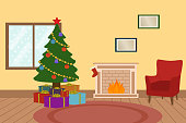 istock Living Room Interior With Christmas Tree, Gift Boxes, Fireplace And Red Armchair. 1329913426