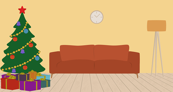 Living Room Interior With Christmas Tree, Ornaments, Gift Boxes And Sofa