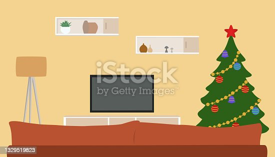 istock Living Room Interior With Christmas Tree, Ornaments, Gift Boxes, Sofa And Tv Set 1329519823