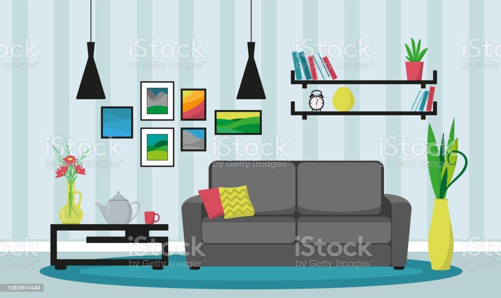 c2bd88aef10497 Wohnzimmer Einrichtung Mit Möbeln Ein Gemütliches Zimmer Mit Sofa ...