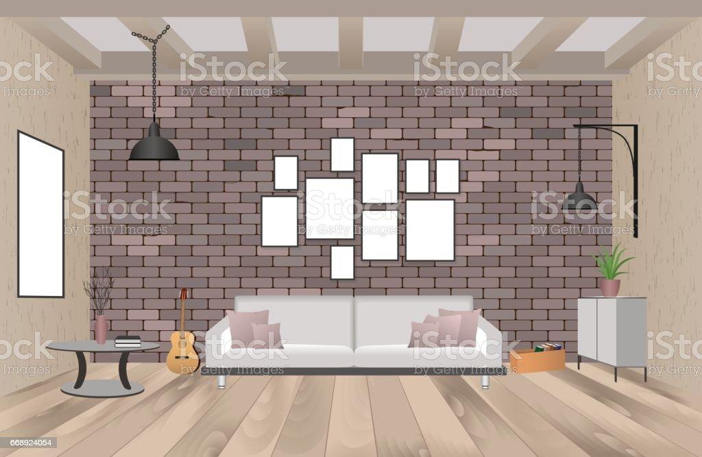 Awesome Wohnzimmer Einrichtung Mit Mbeln Im Stil Der Hipster Mit Leeren  Rahmen Sofa Lampen With Einrichtung Mbel