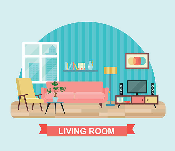living room interior with furniture set. flat vector illustration - living room stock illustrations, clip art, cartoons, & icons