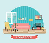 Living room interior with furniture set. Flat vector illustration