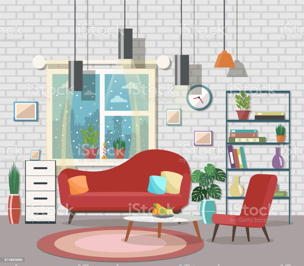 designer wohnzimmer einrichtung, wohnzimmer einrichtung mit möbeln stock vektor art und mehr bilder, Möbel ideen