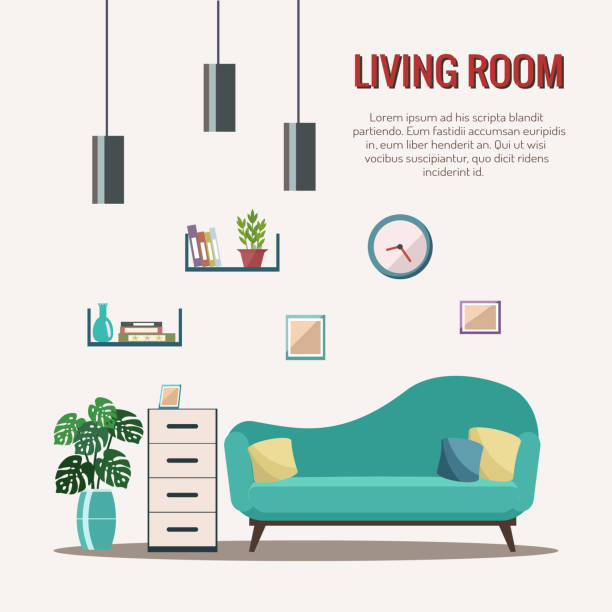 stockillustraties, clipart, cartoons en iconen met woonkamer interieur met meubilair. - interior design