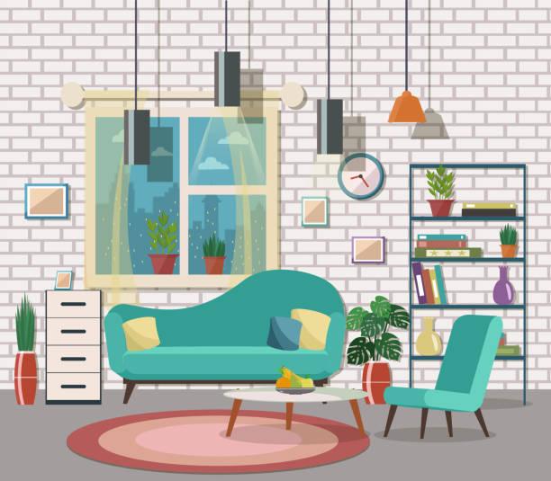 ilustrações de stock, clip art, desenhos animados e ícones de living room interior with furniture. - living room background