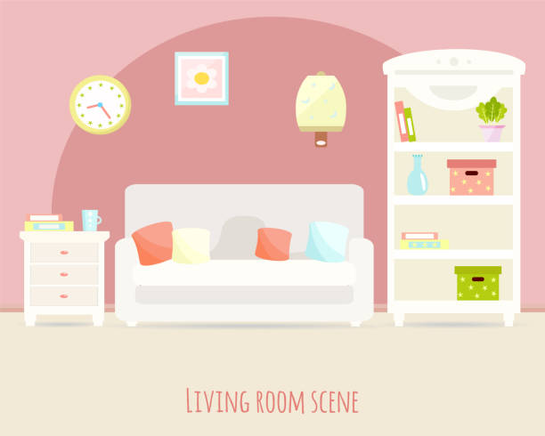 Royalty Free French Living Room Clip Art, Vector Images ...