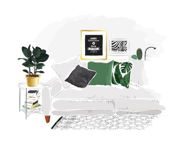 リビングルームにはグレーのソファ、緑の枕、イチジクの植物があります。 - リビング点のイラスト素材/クリップアート素材/マンガ素材/アイコン素材