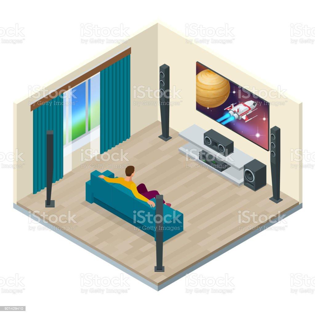 Wohnzimmer Einrichtung Mit Modernen Heimkinosystem Digital Erstellt Und  Hoher Auflösung Gerendert Heimkinosystemvektor Isometrische Darstellung  Stock