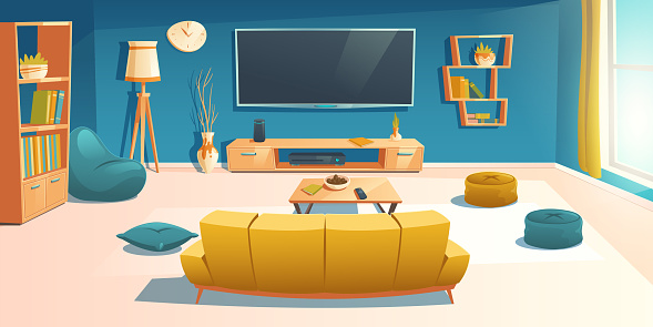 Living room interior with sofa and tv, apartment