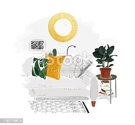 Living room interior with sofa, table, books, mirror and plant.