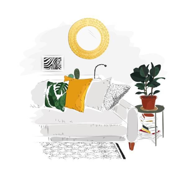 ilustrações de stock, clip art, desenhos animados e ícones de living room interior with sofa, table, books, mirror and plant. - living room background