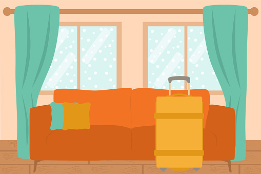 Living Room Interior With Yellow Luggage In Front Of Sofa And Snow View From The Window