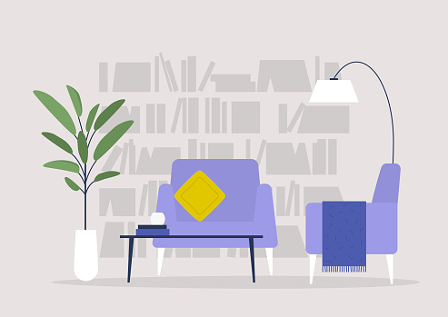 Living room, library and furniture, modern interior, nobody