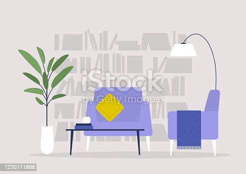 istock Living room, library and furniture, modern interior, nobody 1220111868