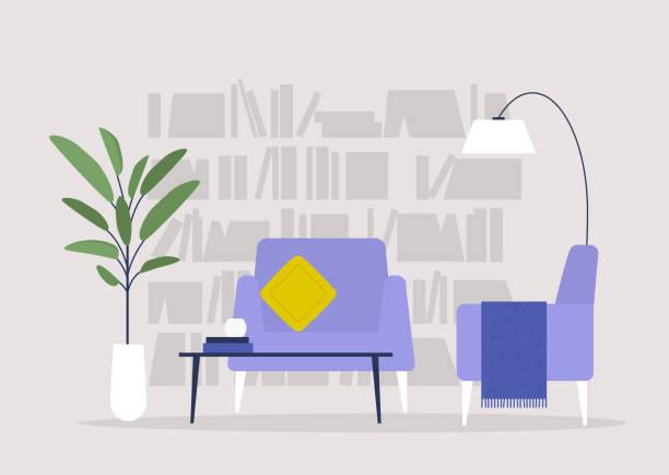 stockillustraties, clipart, cartoons en iconen met woonkamer, bibliotheek en meubilair, modern interieur, niemand - livingroom