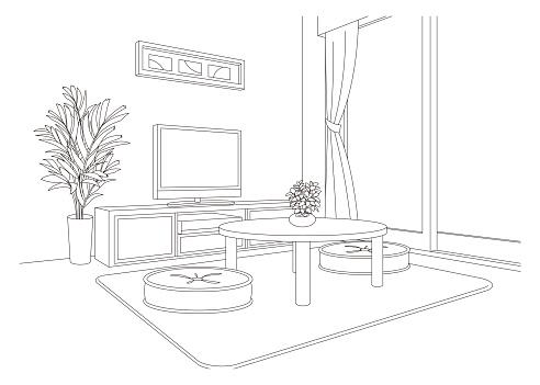Living room line drawing vector illustration.