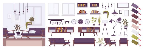 ilustrações, clipart, desenhos animados e ícones de sala de estar moderno interior, casa ou escritório criação kit de - landscape creation kit