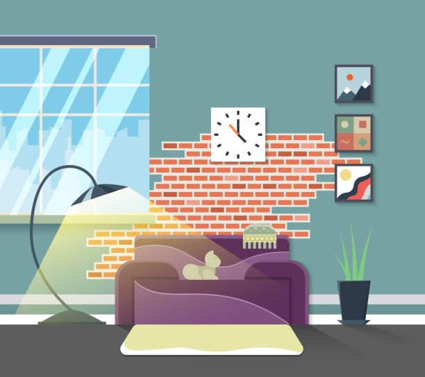 wohnzimmer interieur. vektor home möbel in flachen stil - stuhllehnen stock-grafiken, -clipart, -cartoons und -symbole
