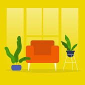 Living room. No people. Armchair and plants. Modern interior. Flat editable vector illustration, clip art