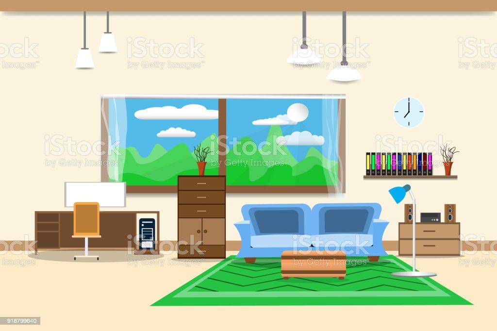 Wohnzimmer Oder Büro Design Interieur Mit Sofa Blau Und Bücherregal Fenster  In Wand Gelb