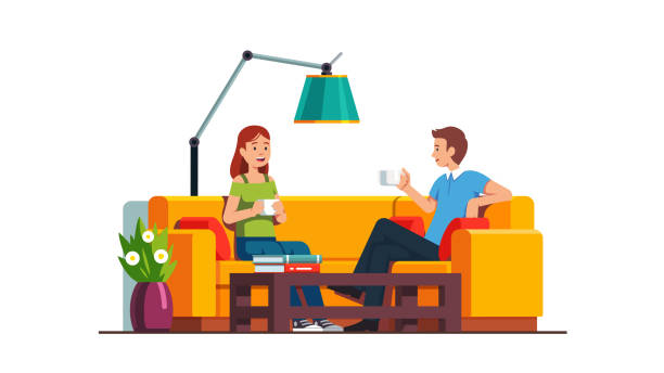 ilustrações de stock, clip art, desenhos animados e ícones de living room or office waiting room interior design. man and woman sitting on sofa at coffee table, drinking and relaxing.   flat isolated vector - coffee table