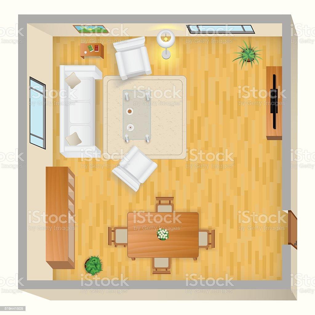 Wohnzimmerplan Stock Vektor Art und mehr Bilder von Ansicht von oben ...