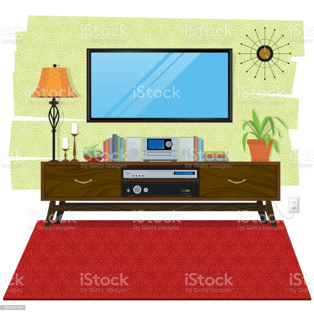Living Room Scene With Entertainment Center And Flatscreen Tv Stock Illustration Download Image Now Istock