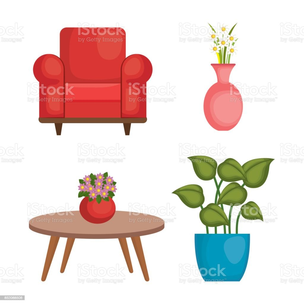 Living Room Set Icons Stock Vector Art & More Images of Apartment ...