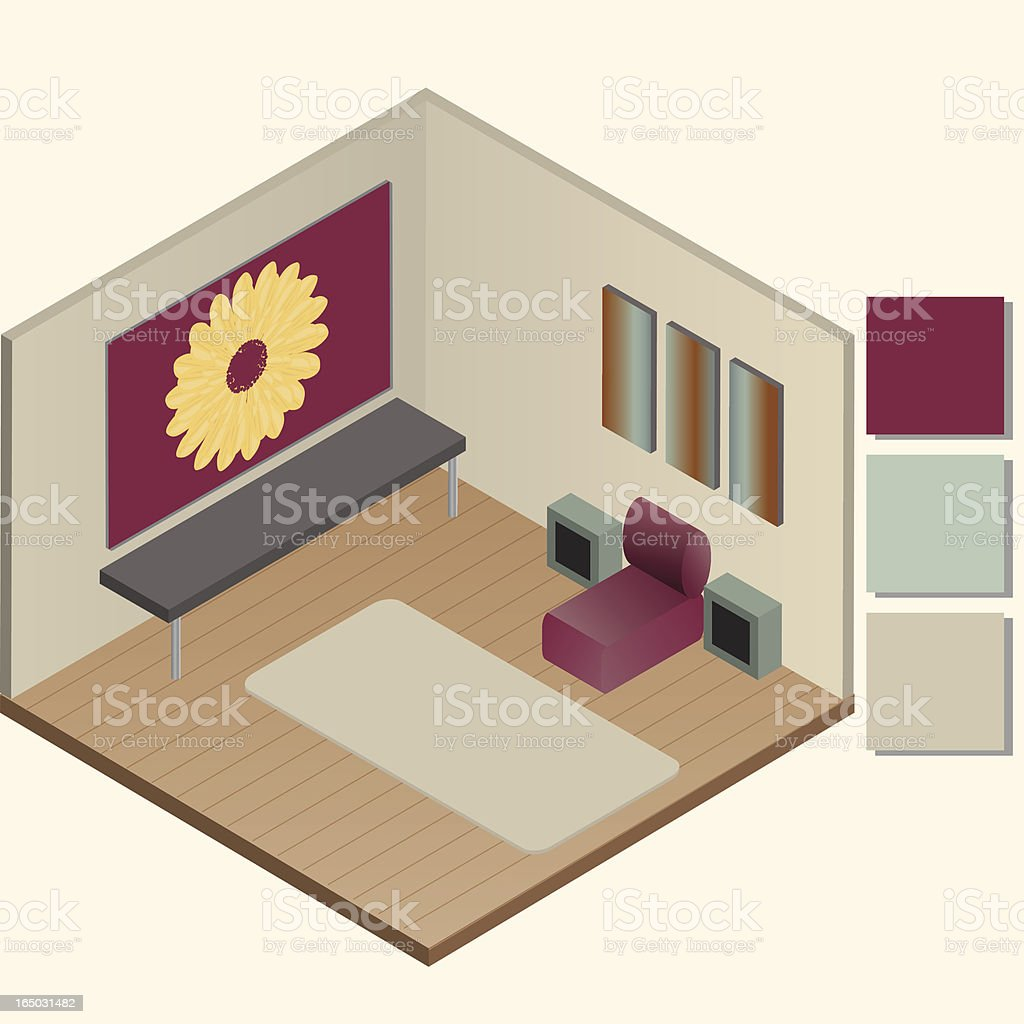 living room (vector) royalty-free stock vector art