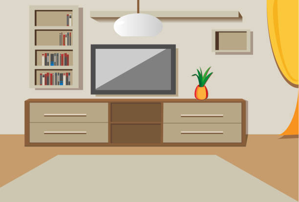 Royalty free living room tv clip art vector images for Room design vector