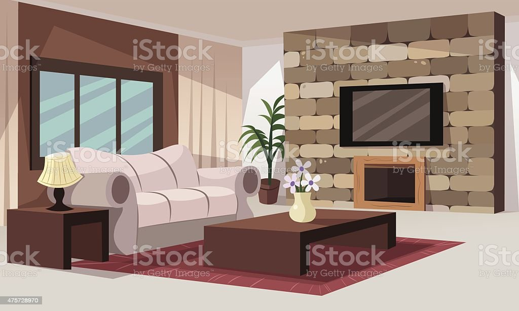 Living room stock vector art more images of 2015 475728970 istock for Cartoon picture of a living room