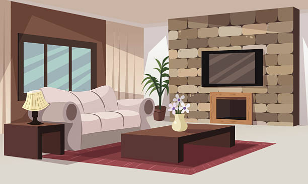 ilustrações de stock, clip art, desenhos animados e ícones de sala de estar - living room
